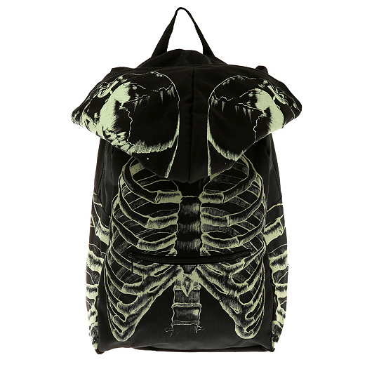Black Glow Ribcage Backpack 1 The Black Glow In The Dark Skull & Ribcage Hooded Backpack: Frighteningly fashionable