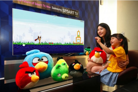 angry birds tv 550x368 Gesture based Angry Birds app is coming to Samsung smart TV's
