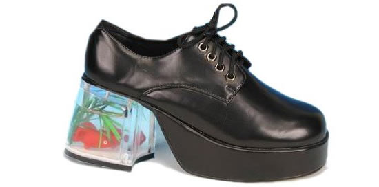 fish tank shoes Yes that's a Goldfish in Men's Fish Tank Adult Platform Shoes