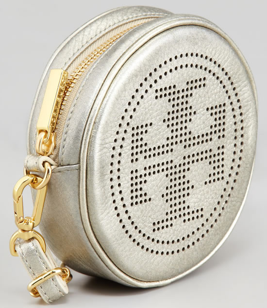 perforated logo round crossbody bag 3 The Tory Burch Perforated Logo Round Crossbody Bag Platinum is just beautiful