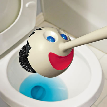 pinocchio toilet brush 1 Pinocchio Toilet Brush cleans the toilet with his head