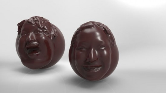 chocolate face 1 550x308 Display love for your lady by eating her 3d printed chocolate head this Valentine
