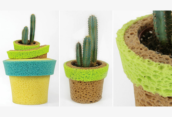 sponge pot Invaso Self Watering Sponge Pot for Forgetful Planters
